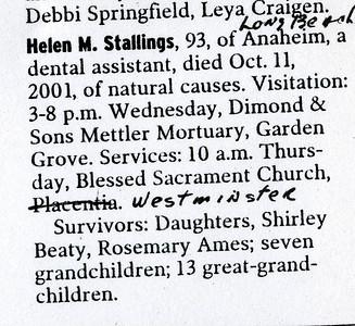 Grandma Helen Stallings obituary.