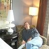 Paul enjoying the Avia Hotel room in Savannah.