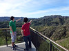 Beau and Yoshi pointing on the Griffith Observatory balcony.