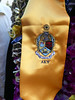 Close up of Beau's ΑΚΨ fraternity sash