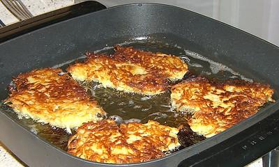 Potato latkes. Grease pan lightly.