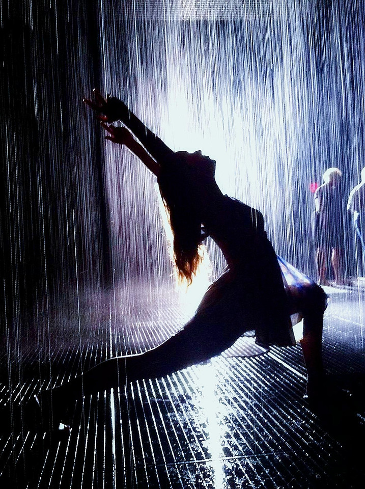 Bella in the Rain Room exhibit at the MoMA, NYC