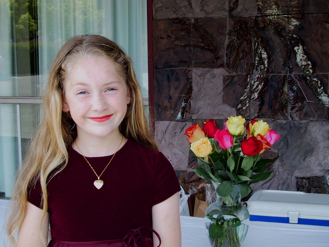 After winning an award at her piano recital.