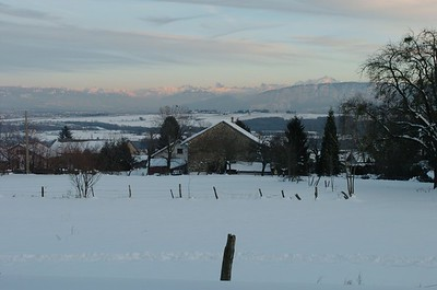 Nice winter view from our house. The highest top on the right side is the Mont Blanc.