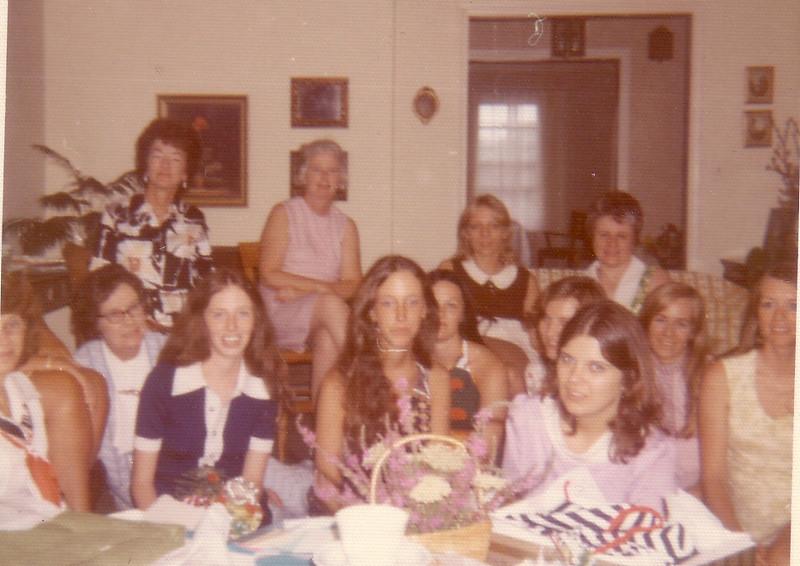 Another Shower for Lynn:  Eleanor Woods, Virginia Payne, Lynn, Jean, Beth, Heidi Crosier, ?, ?, Kerryl Wyland, Helen Dobosz, Joan McDonough, Ann Ferrick