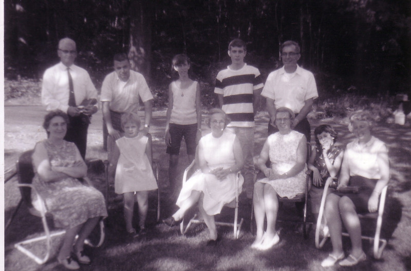 Front Row:  Aunt Lil (Lyttle), Susan Sarle, Wilda Johnston, Doris Sarle, Laurie Jo, Jean Johnston<br /> Back Row: Grandpa Bill Johnston, Doug Johnston, Beth, Steve Sarle, Sherwood Sarle<br /> at the farm