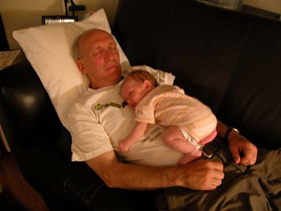 Anna and Grandpa David...after a hard day...