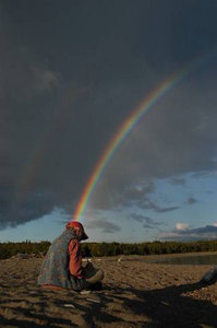 Betsy radiating a rainbow at Augausobon River, Ontario, Canada.
