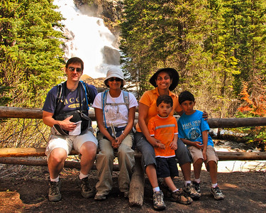 Hal, Bhumisha, Vaishali, Keval and Nikhil in front of Hidden Falls