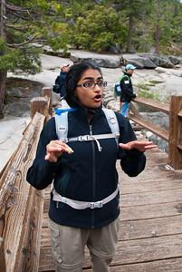 Bhumisha is explaining something very important (something about stretching, I think)