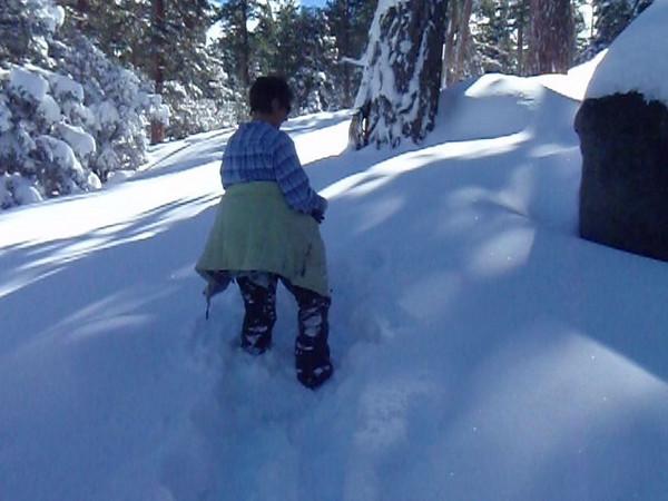 Snowshoeing in fresh powder on Sunday.