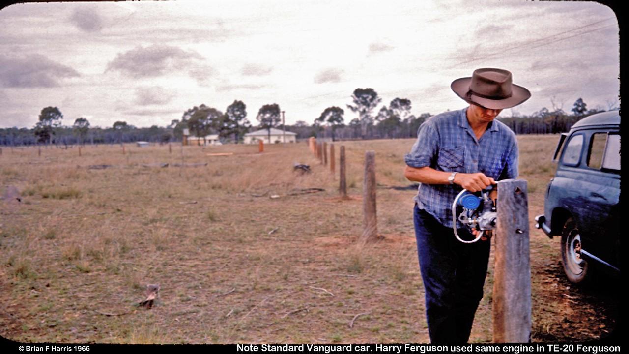 Bill Harris using his new 2 stroke TAS post borer on Turnabulla along Barakula Rd from Chinchilla.