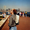 Liberty Island, NYC, with WTC (1986).