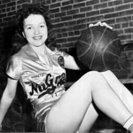 1940 Billie pictured in her NuGrape Soda Company semiprofessional basketball uniform. The team's colors were yellow and purple, like today's NBA Lakers basketball uniforms.