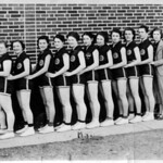 Billie is the second in line, 1938 Mesquite High School woman's basketball team.