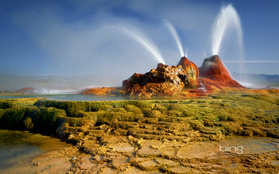 Geysers erupt in the Black Rock Desert in Nevada