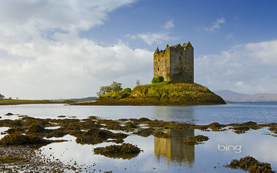 Castle Stalker on an island in Loch Linnhe, Scottish Highlands, Scotland