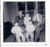 Rose & Charles Rubinstein with grandchildren, Evie, David, Sari Birnbaum, jackson heights, 1955