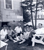 Monsey, 1973 circa<br /> Rhoda, David, Uncle Seymour Levine, Evie, Rebecca & Helen Levine, Jack Birnbaum