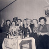 From Left:<br /> Aunt Blanche Gershbaum (behind glass), unknown, unknown, Aunt Ruthie Reiser (with cup), Rose Rubinstein (with glasses on left)