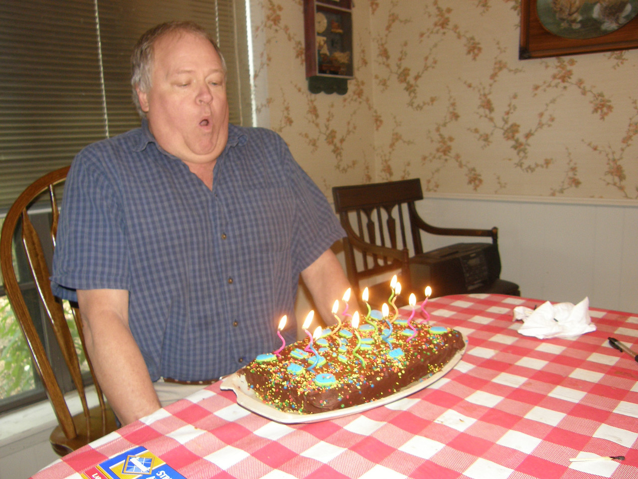 I gotta blow all these candles out with one blow, so to make my wish come true!  Hasn't came true yet, but I am going to keep on trying!  No, I ain't telling!  :)  Ha.