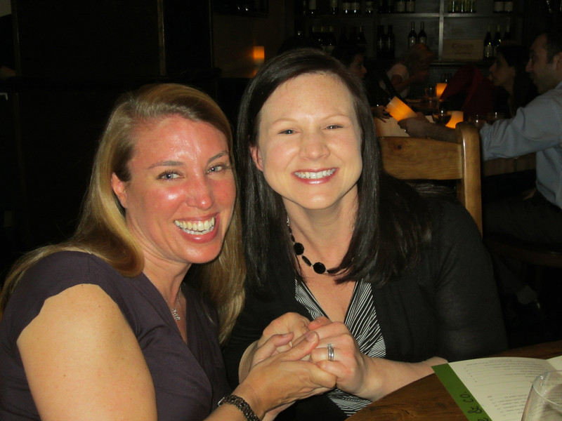 At Food, Wine & Co in Bethesda:  Mary Ellen and Sally...awkward hand holding.  :)