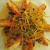 Birthday dinner :) <br /> Lemongrass Shrimp: Grilled shrimp, mushroom basmati rice, lemongrass sauce, light julienne tempura vegetables.