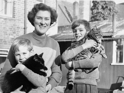 Mum with Ian & Neil plus Sooty and Tiger.