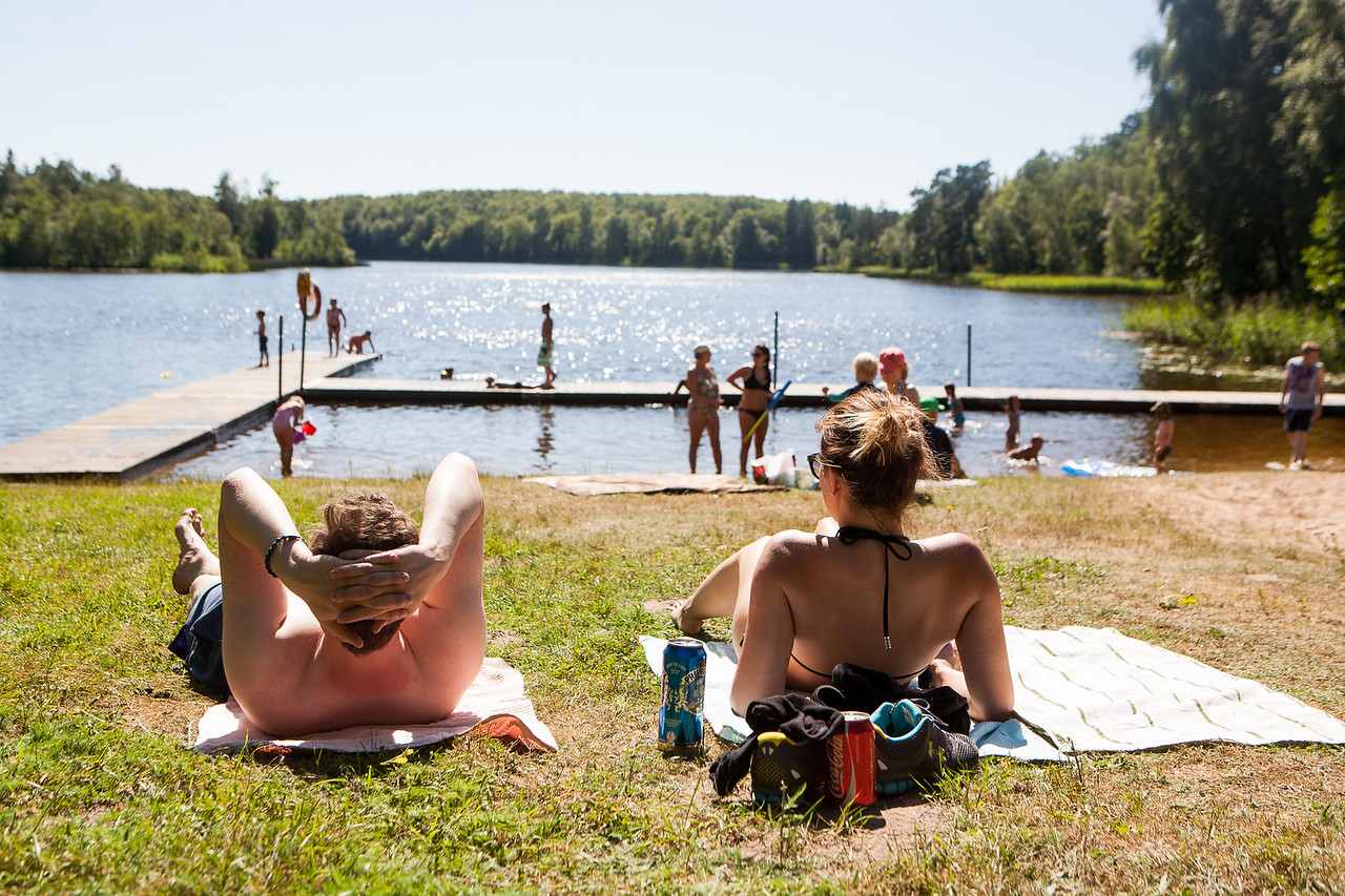 Steinunn frænka og Margrét mættar - beint í Möllerödsjön