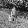 Dad takes Carolyn for a walk down the Crofts aside Newent lake