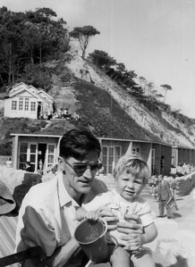 One of our many trips to Canford Cliffs Dad with Carolyn.