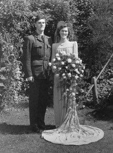 Mum & Dad on their wedding day, taken at the back of The George Hotel Newent.