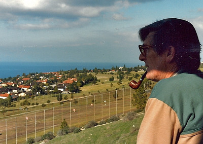 Mum & Dad visited us in California in the early eighties, here Dad looks out to Catalina from our apartment in Palos Verdes.