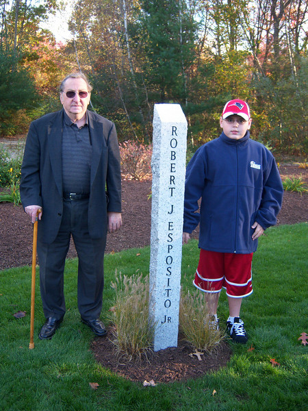 Memorial for Robert Esposito Jr. at Deerfield Park in Smithfield Rhode Island