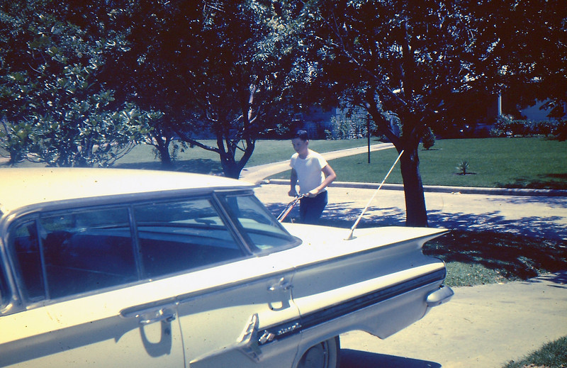 Mowing the lawn.....Our 1960 Chev. Impala