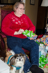 Kathy and Cody at the Boehm Christmas