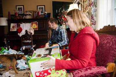 Helen opening her gifts