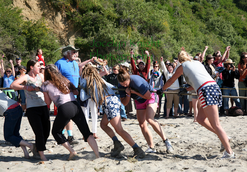 The Bolinas Women's Pull ended in victory for Bolinas after a hard-fought 9 minutes against the Stinson Beach team on the beach in Bolinas, CA, on July 4, 2010.Right to left - Joy Conway,Jen Cox,Tina Kochan, Dee O'Neal.(Special to the IJ/Jocelyn Knight)