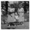 Great-uncle Larry and Great-aunt Win's child, Kristi Anne Rickert, in the arms of Greatgrandma Laurie, and Ricki Rickert (is this Larry and Win's Winifred?) standing between her and Greatgreatgrandma Cora Anne Richards Whitehead Gould. It's Cora Anne's 88th birthday--August 12, 1957.