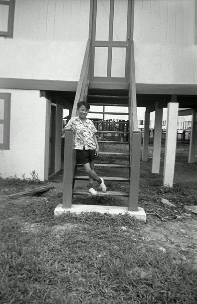 Ling Si Hua at the back stairs of Mr. Teng's house (Sibou 1955)