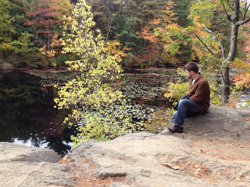 Josh by Long Pond in the Fells, again by Beth's iPhone
