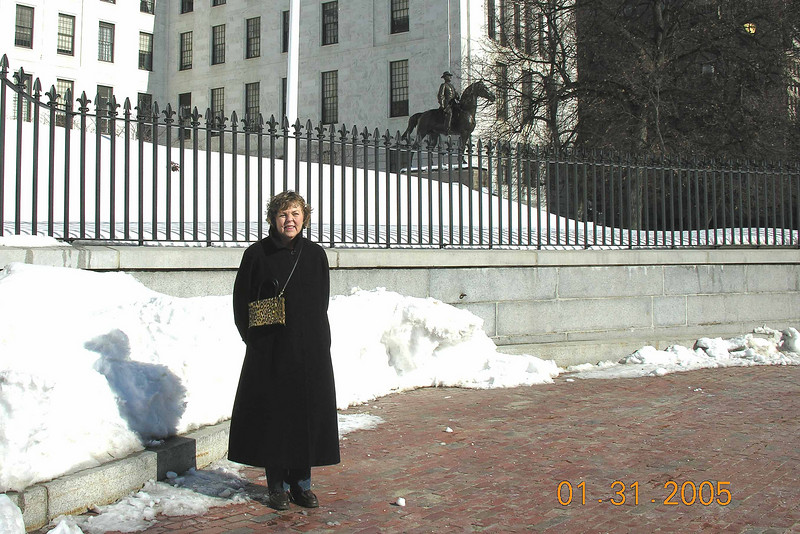 Pat in front of State House - day before surgery