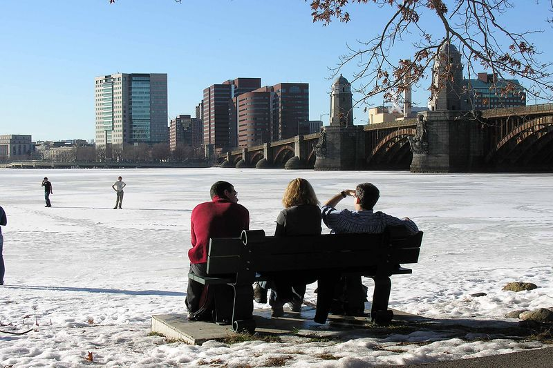 a warm day looking over the frozen Charles River