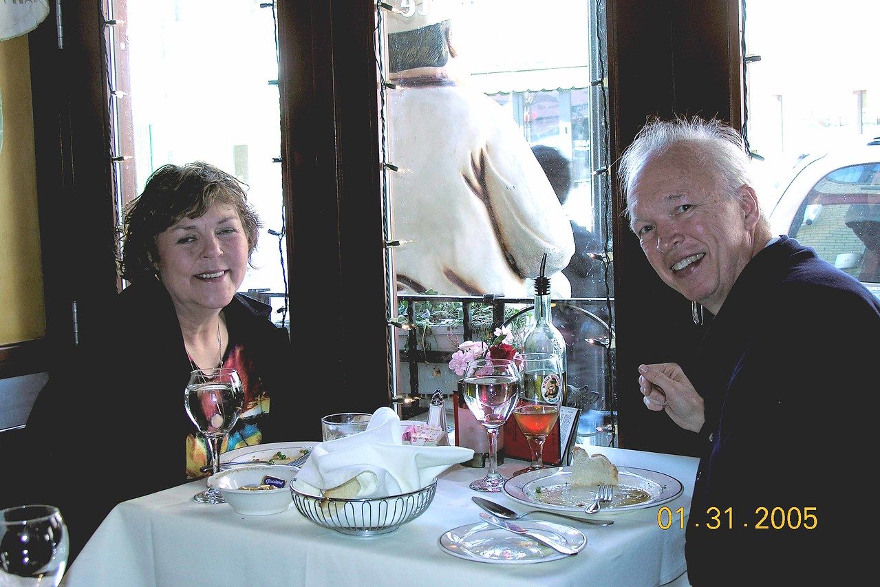 At an Italian restaurant the day before the surgery