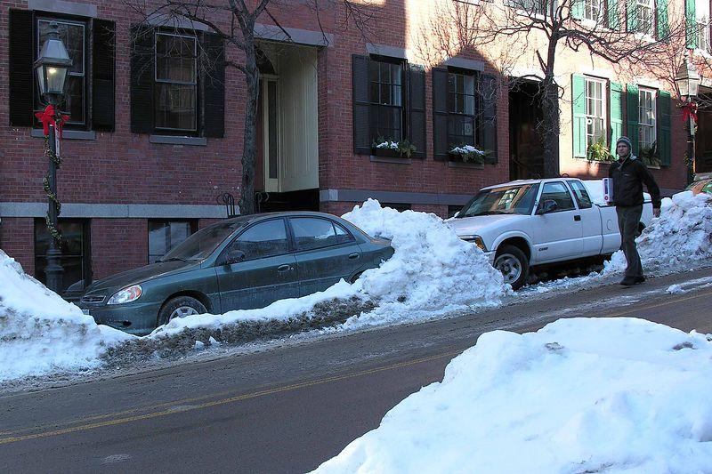 Some cars were still snowed in