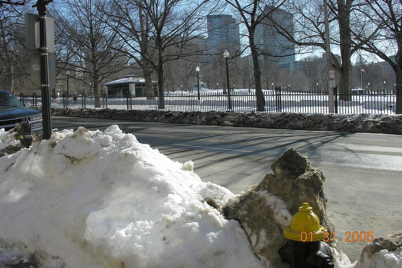 Snow piled high