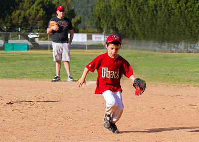 Chasing down a ground ball.