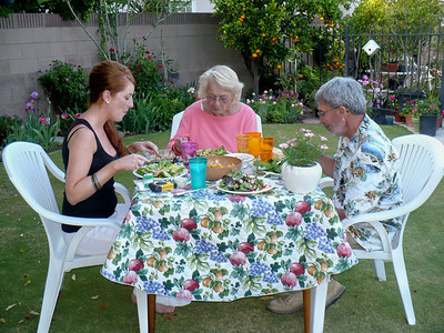 Enjoying salads on a beautiful spring evening