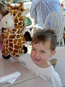 Daniel Walsh and his giraffe