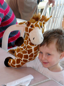 Daniel Walsh and his giraffe